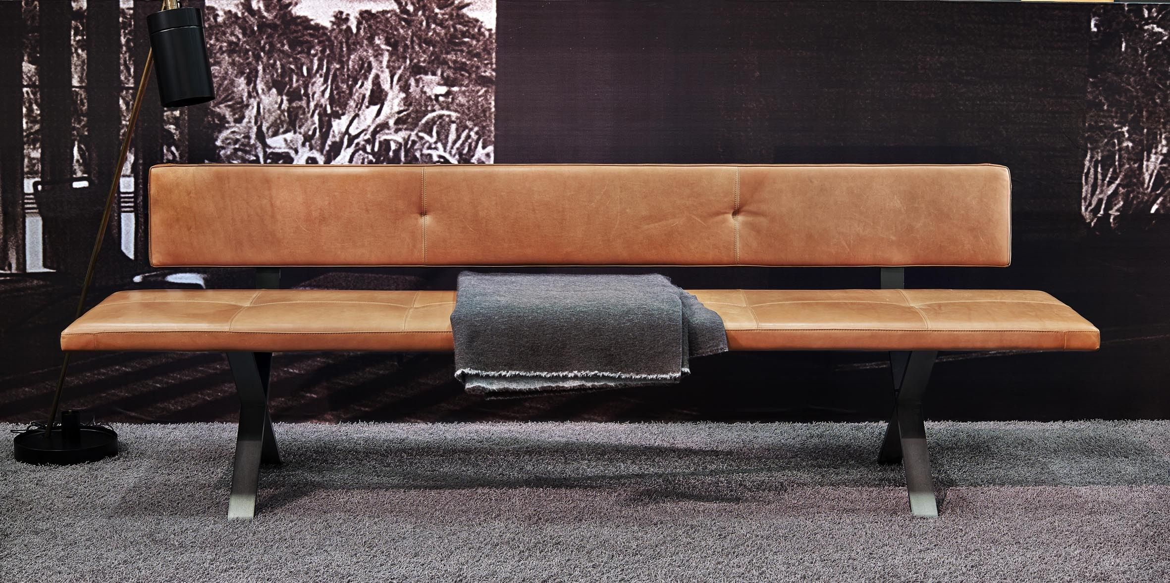 Bank LAX - mit Rückenlehne, 240 cm, Leder 2 Farbe 2600 ...