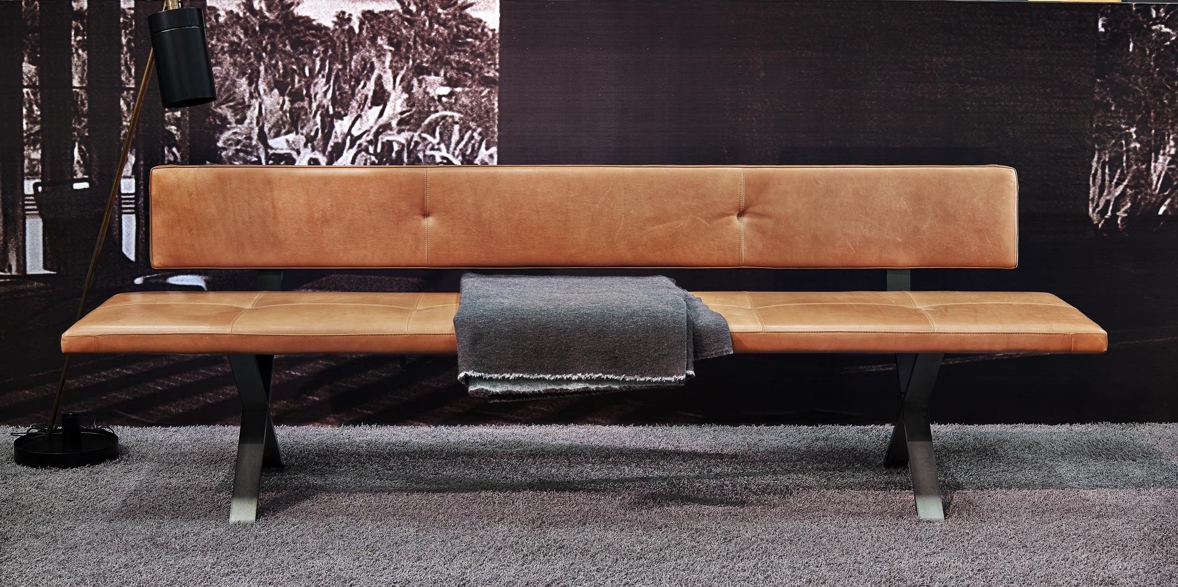 Bank LAX  mit Rckenlehne 240 cm Leder 2 Farbe 2600
