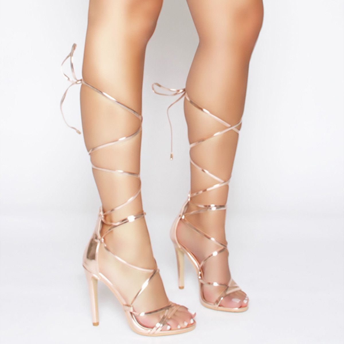 bcceb2c80f Demi Rose Gold Lace Up Stiletto Heels : Simmi Shoes | Shoes in 2019 ...