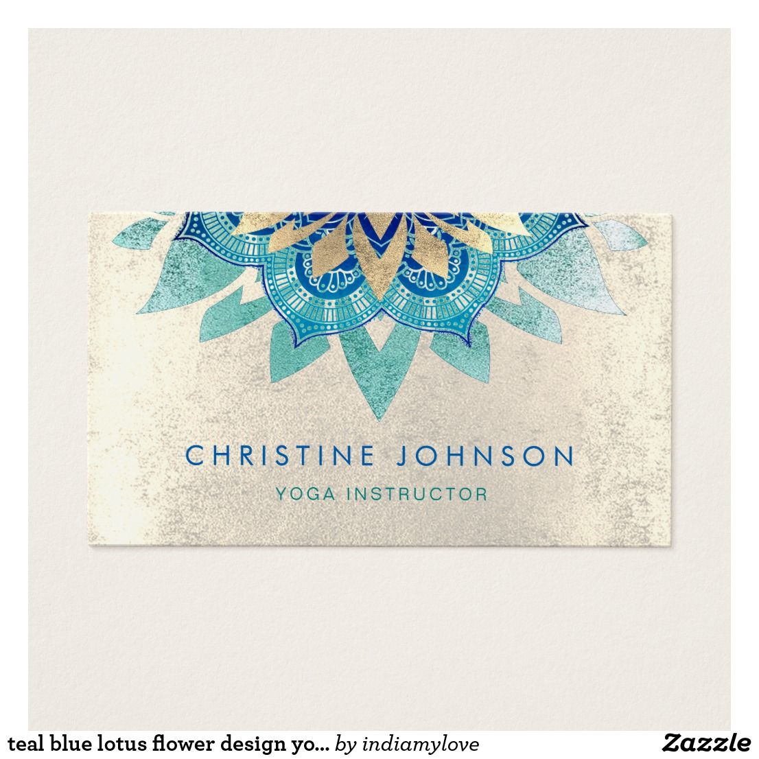Teal Blue Lotus Flower Design Yoga Instructor Business Card Best