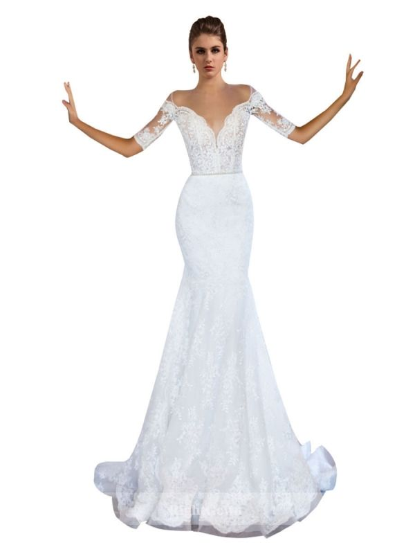 New Arrival 2018 Mermaid V-Neck Short Sleeves Lace White Wedding ...