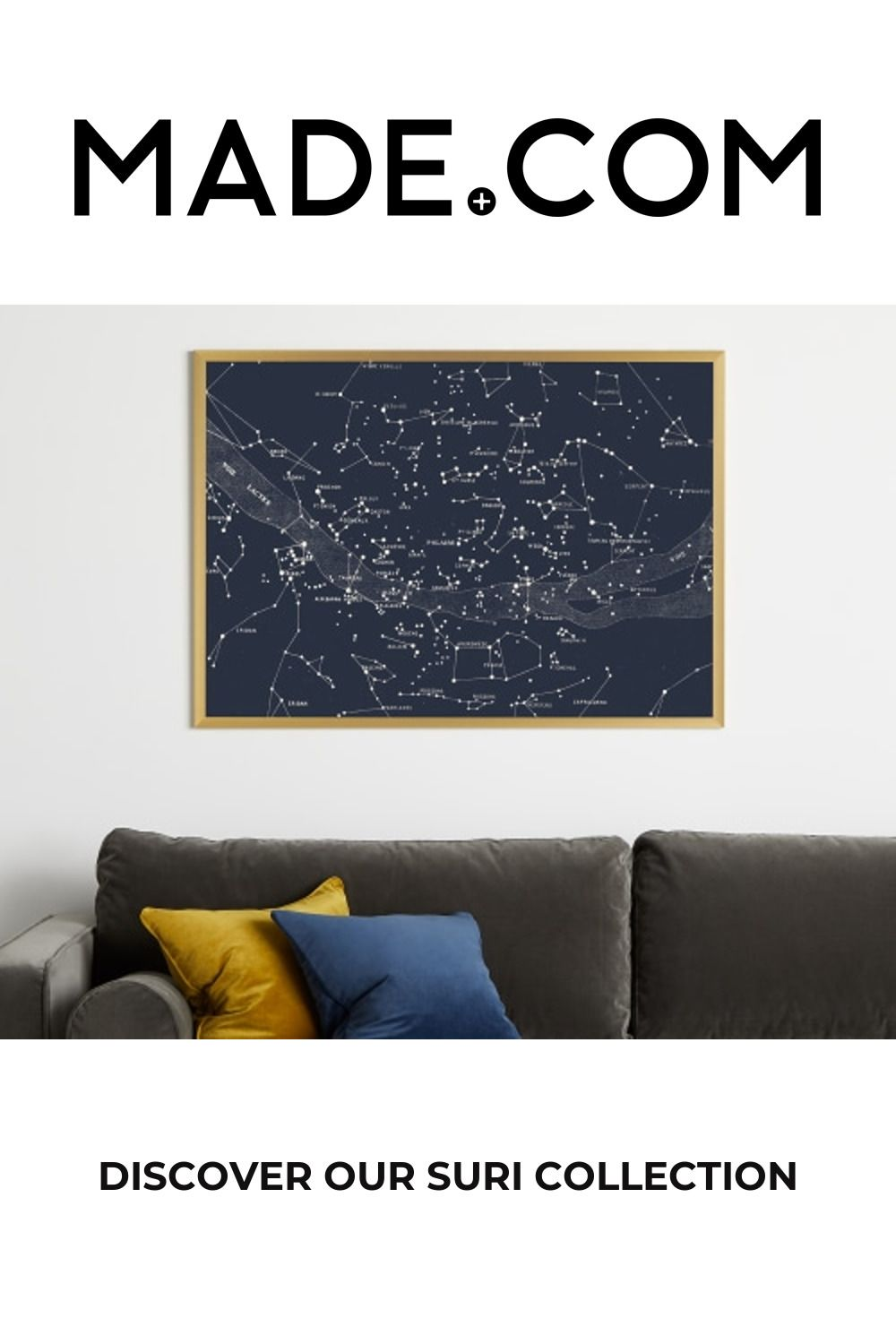 Suri Celestial Large Vintage Framed Wall Art Print 70 x 100cm, Navy & Gold
