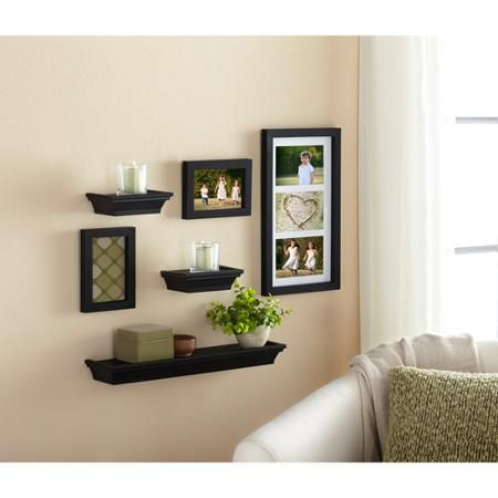 cute mix of floating shelves and picture frames Mainstays 6-Piece ...
