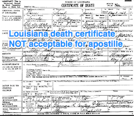 Louisiana death certificate not acceptable for apostille state of louisiana death certificate not acceptable for apostille yelopaper Images