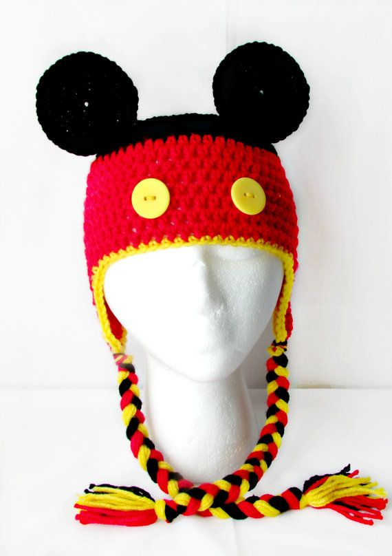 Crochet Mickey Mouse Hat | Crochet hats | Pinterest
