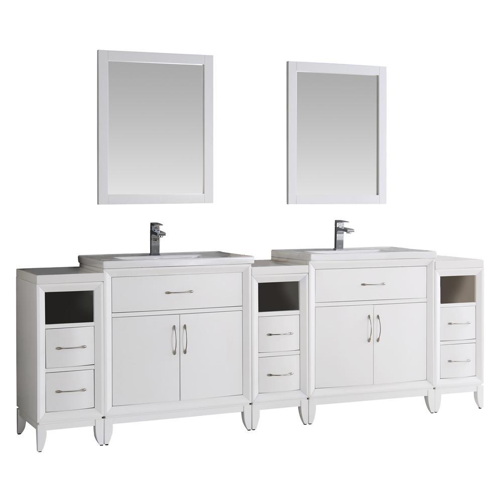 Badezimmer eitelkeiten 80 fresca cambridge  in vanity in white with porcelain vanity top in
