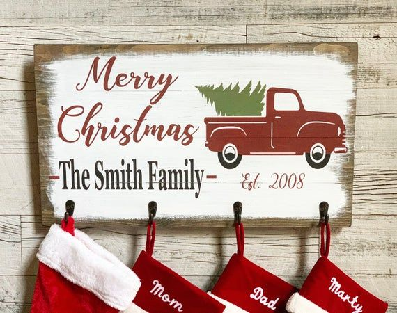 The Stockings were Hung 6x20 Wood Sign Small Christmas Stocking Hanger Home Decor