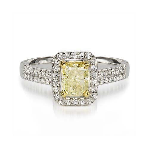 1.38 ct FY SI1 RADIANT CUT DIAMOND ENGAGEMENT RING 18K www.larrysfinejewelryinc.com