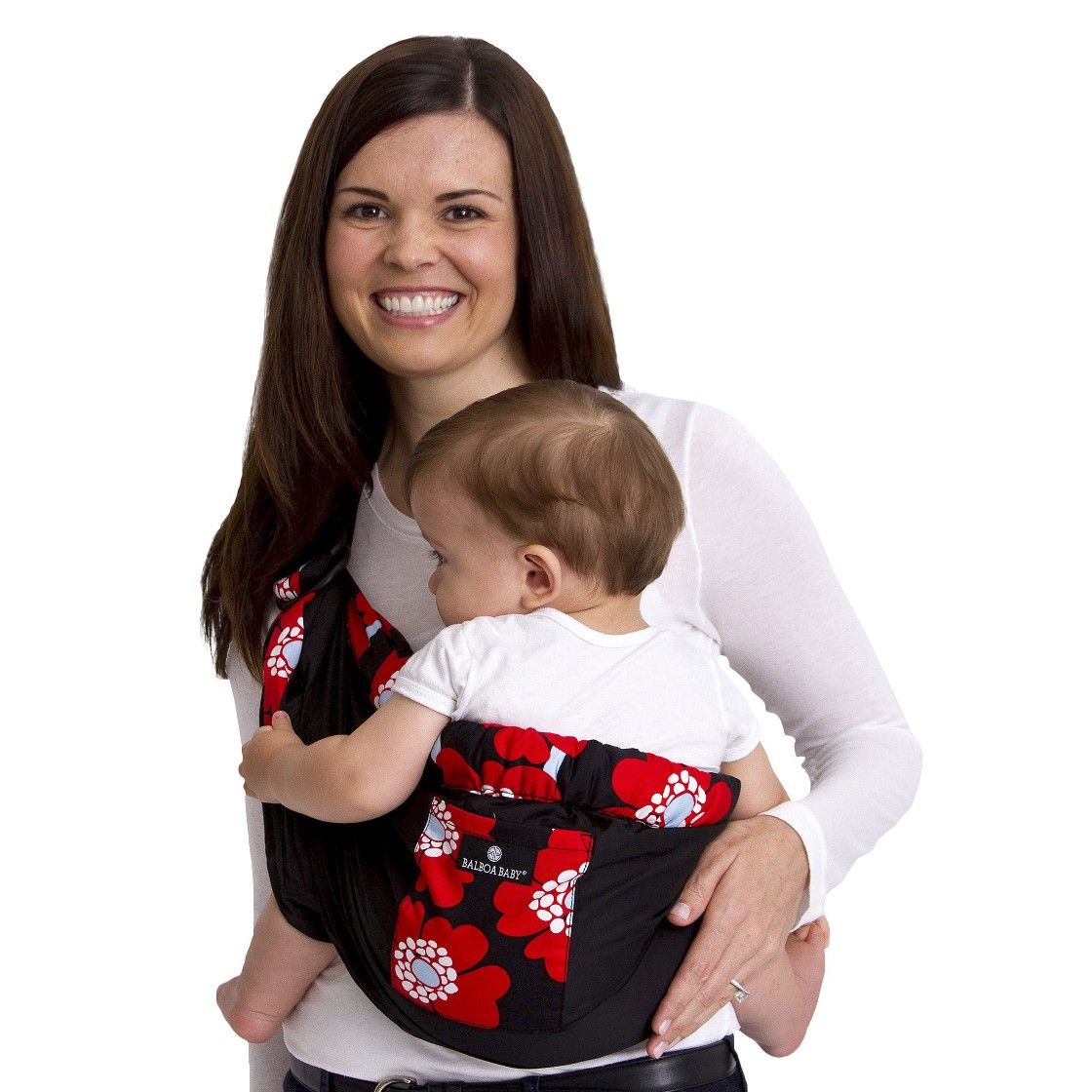 Balboa Baby Four Position Adjustable Sling Carrier Red Poppy Trim