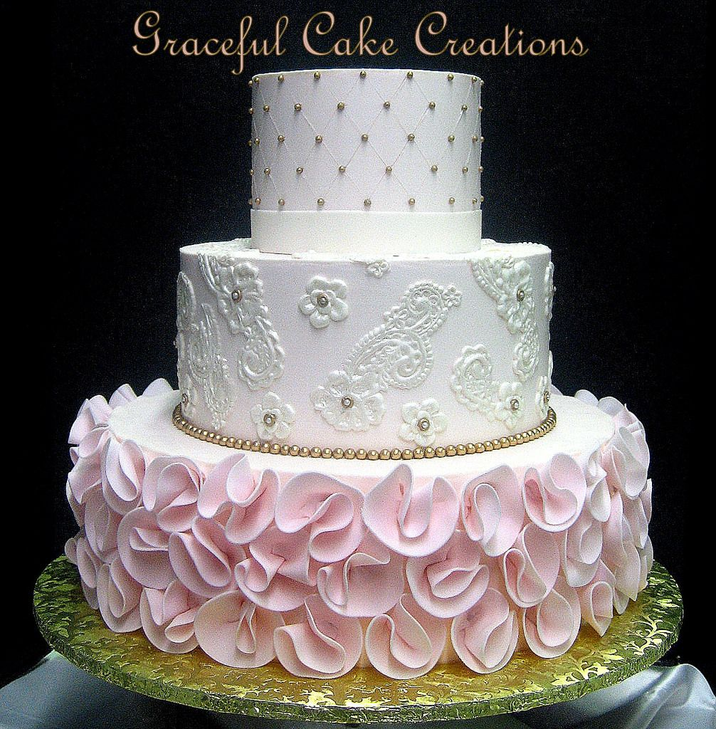 Pink White Gold Wedding Cake Pink And Gold Wedding Cakes P