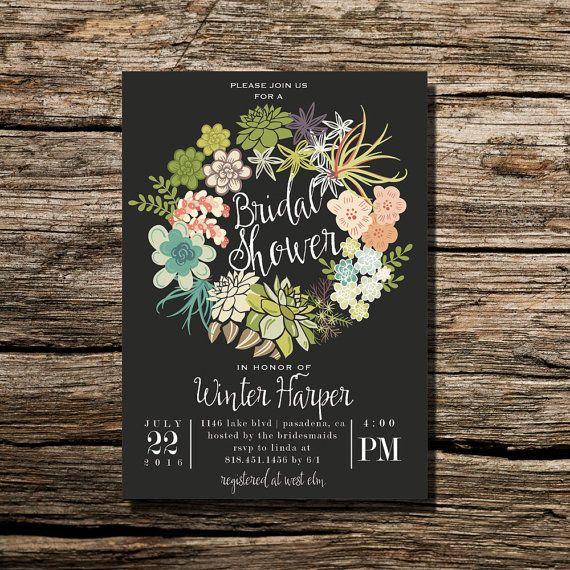 rustic cactus succulent wreath desert wreath bridal shower, Wedding invitations