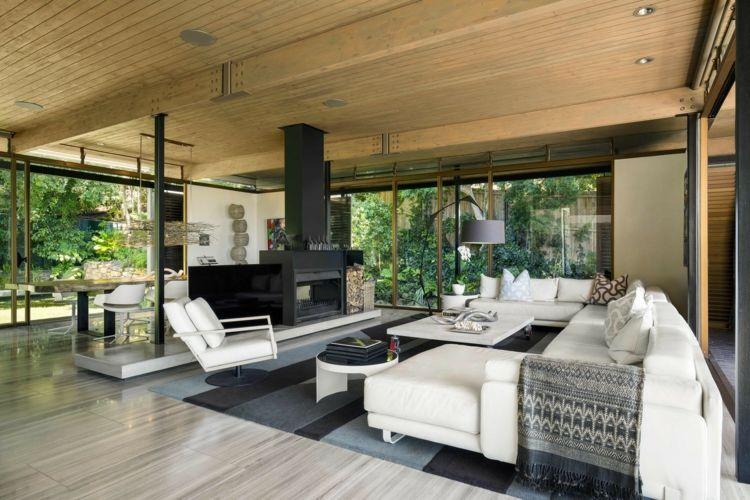 inneneinrichtung modern glasfront kamin weiße möbel #dream #house ...