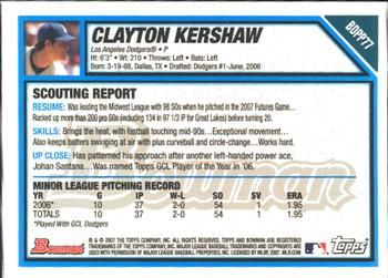 2007 Bowman Draft Picks & Prospects - Futures Game Prospects Gold #BDPP77 Clayton Kershaw Back