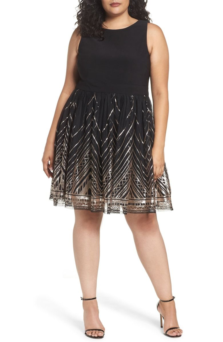 Free Shipping And Returns On Vince Camuto Sequin Fit Flare Dress Plus Size At N Fit And Flare Cocktail Dress Cocktail Dress Plus Size Wedding Guest Dresses [ 1196 x 780 Pixel ]