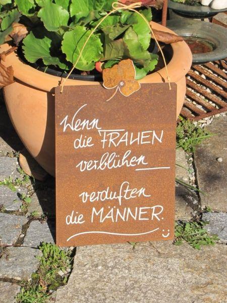 """Edelrost Schild mit Efeublatt """"verduften"""""""