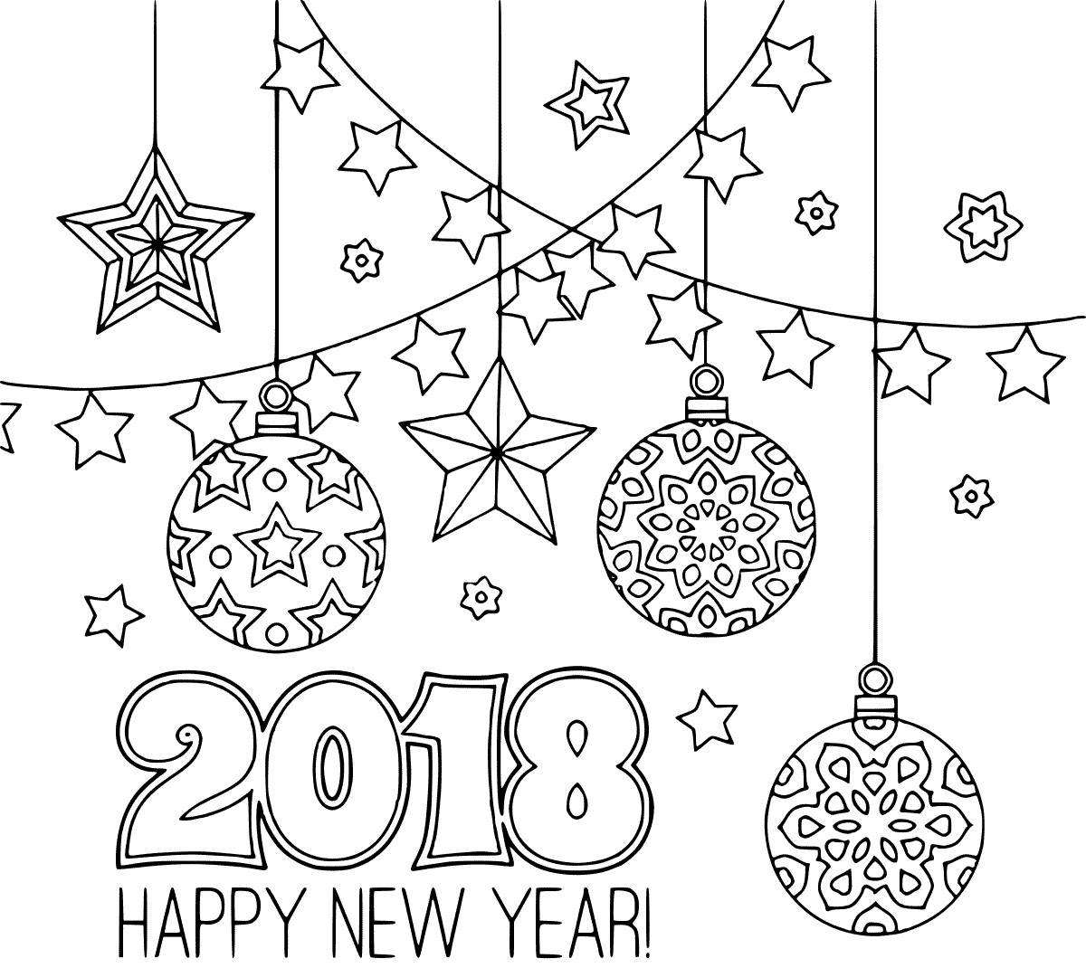 Printable New Year 2018 Coloring Pages Congratulations