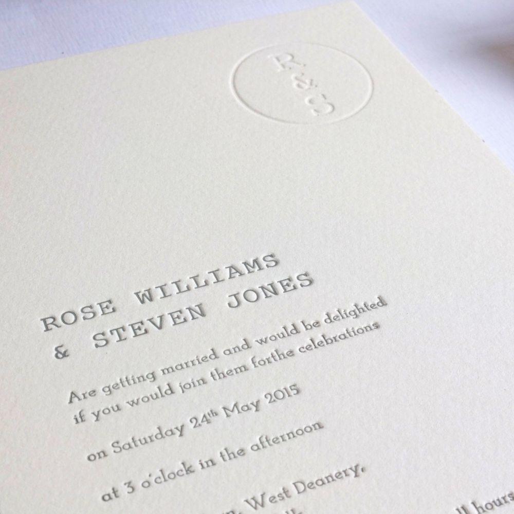 Retro Stamp Letterpress Wedding Invitation Wolf