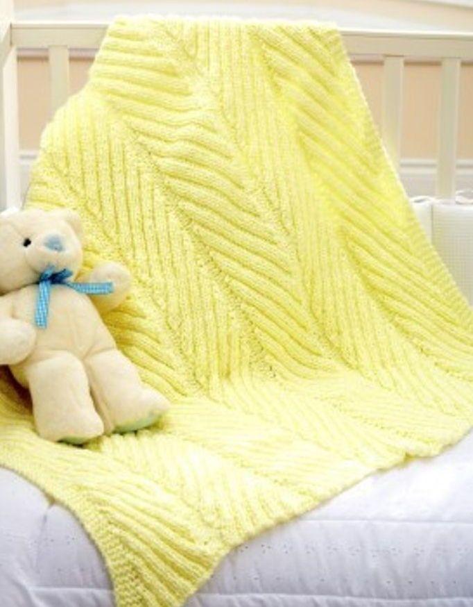 Diagonal Rib Blanket In Bernat Baby Coordinates Solids Free In 2018