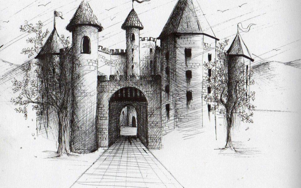 dibujo, blanco y negro, tinta, casa, castillo | Dibujos