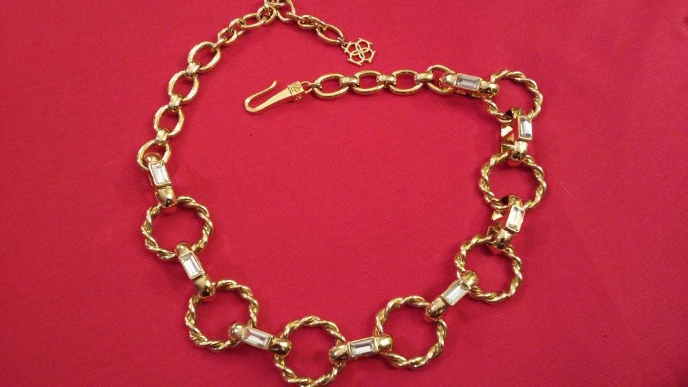 Marvelous Tory Burch Gold and Rhinestone Baguette Necklace. #ToryBurch #Necklace