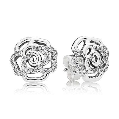 Rose Silver Stud Earrings With Cubic Zirconia Brincos