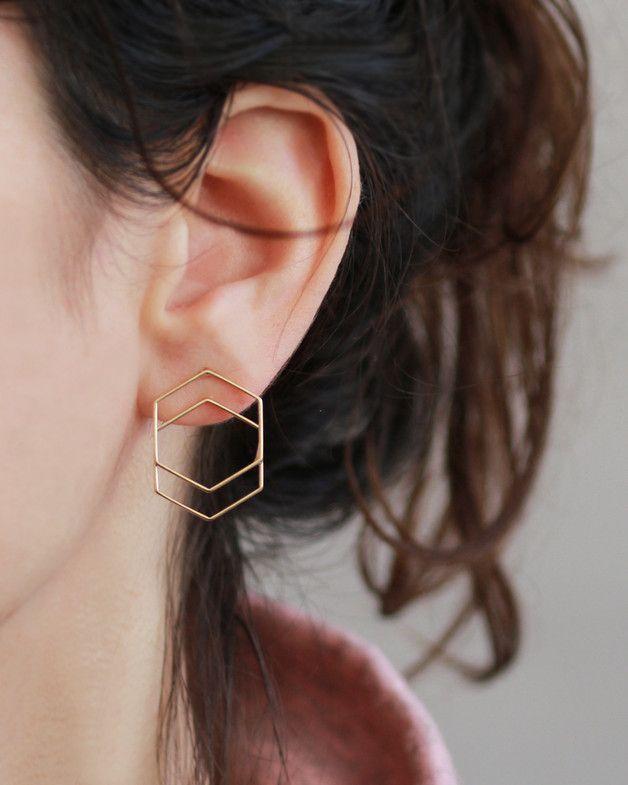 Perfect Gift For Best Friend Stud Earrings Geometric Gold Stud