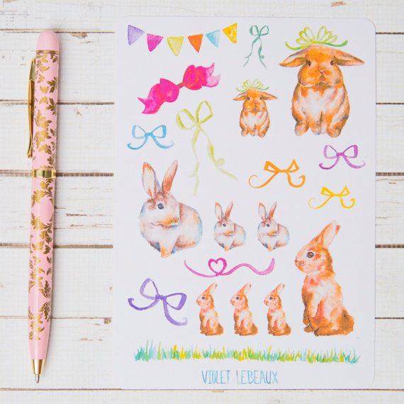 Decorate your planner journal or other items with these cute little watercolour bunny stickers  Please note that there are limited numbers of these sheets available and some designs will not be restocked so get in now if you see one that you like!  ----------------------------------------------------------------------------------------------- Paper Type: Matte sticker paper. Want a gloss version? Check here: https://www.etsy.com/listing/233784861/lovely-bunny-sticker-sheet-gloss-for…