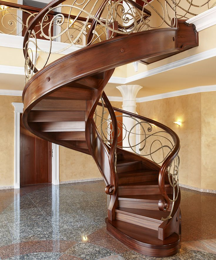 Best St433 Spiral Stair With Risers Made Of Stained Sapele 400 x 300