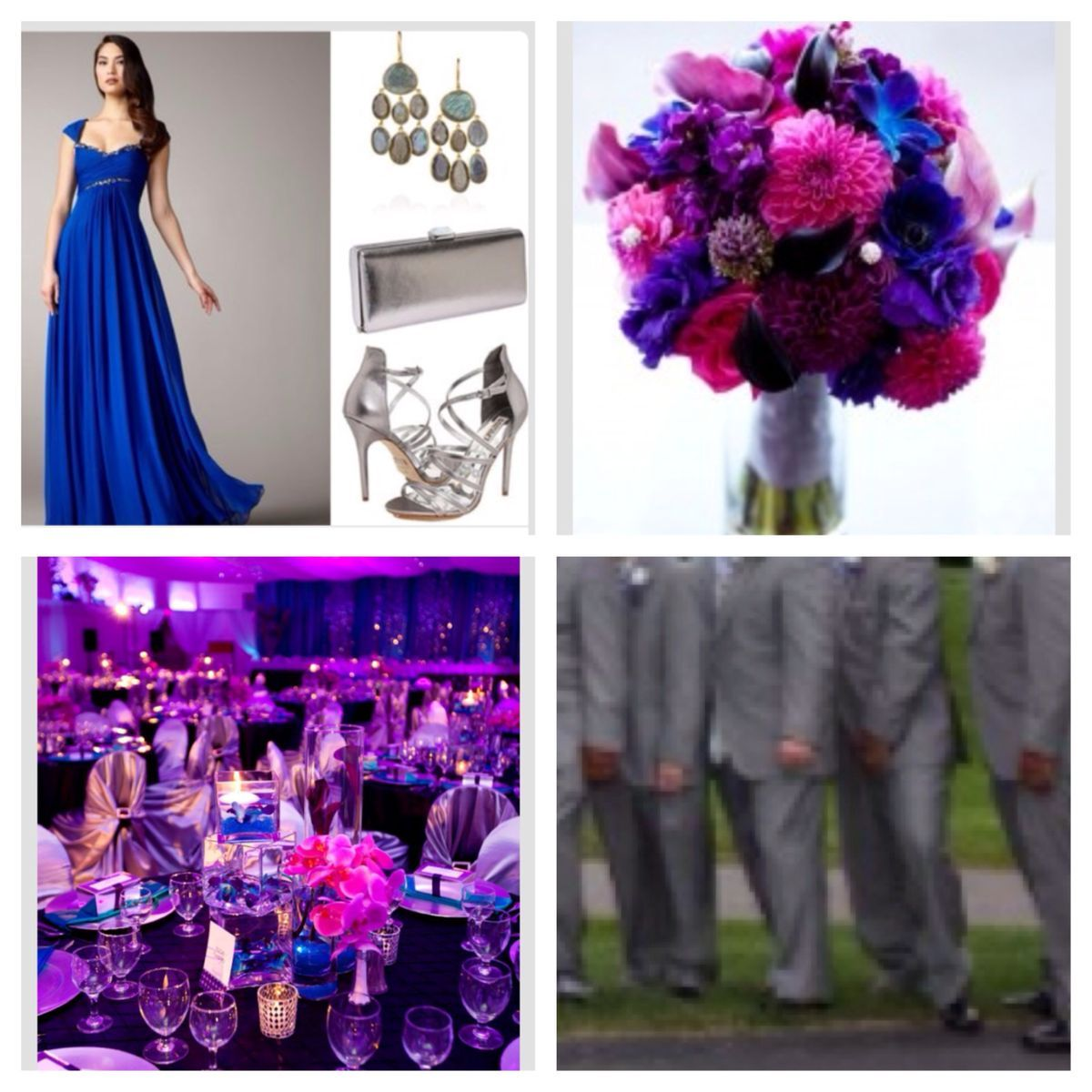 Wedding Pallet Cobalt Blue Fuchsia Royal Purple With Accents Of Silver Crystals And Other Lighter Shades Pink