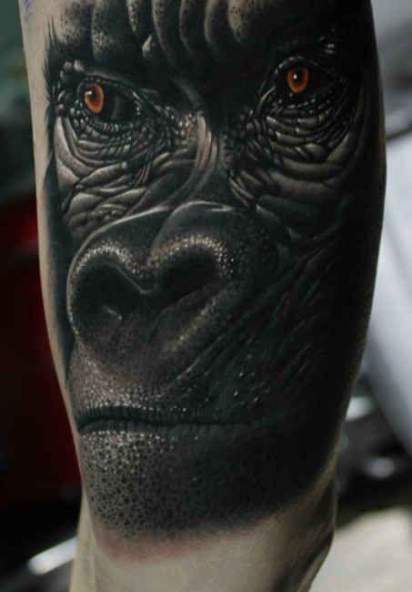 3-D Monkey Face  - http://tattootodesign.com/3-d-monkey-face/  |  #Tattoo, #Tattooed, #Tattoos