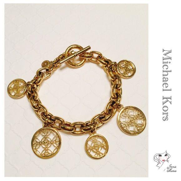 Mk Charm Bracelet Michael Kors Women S Monogram Gold Tone Steel Disc Jewelry