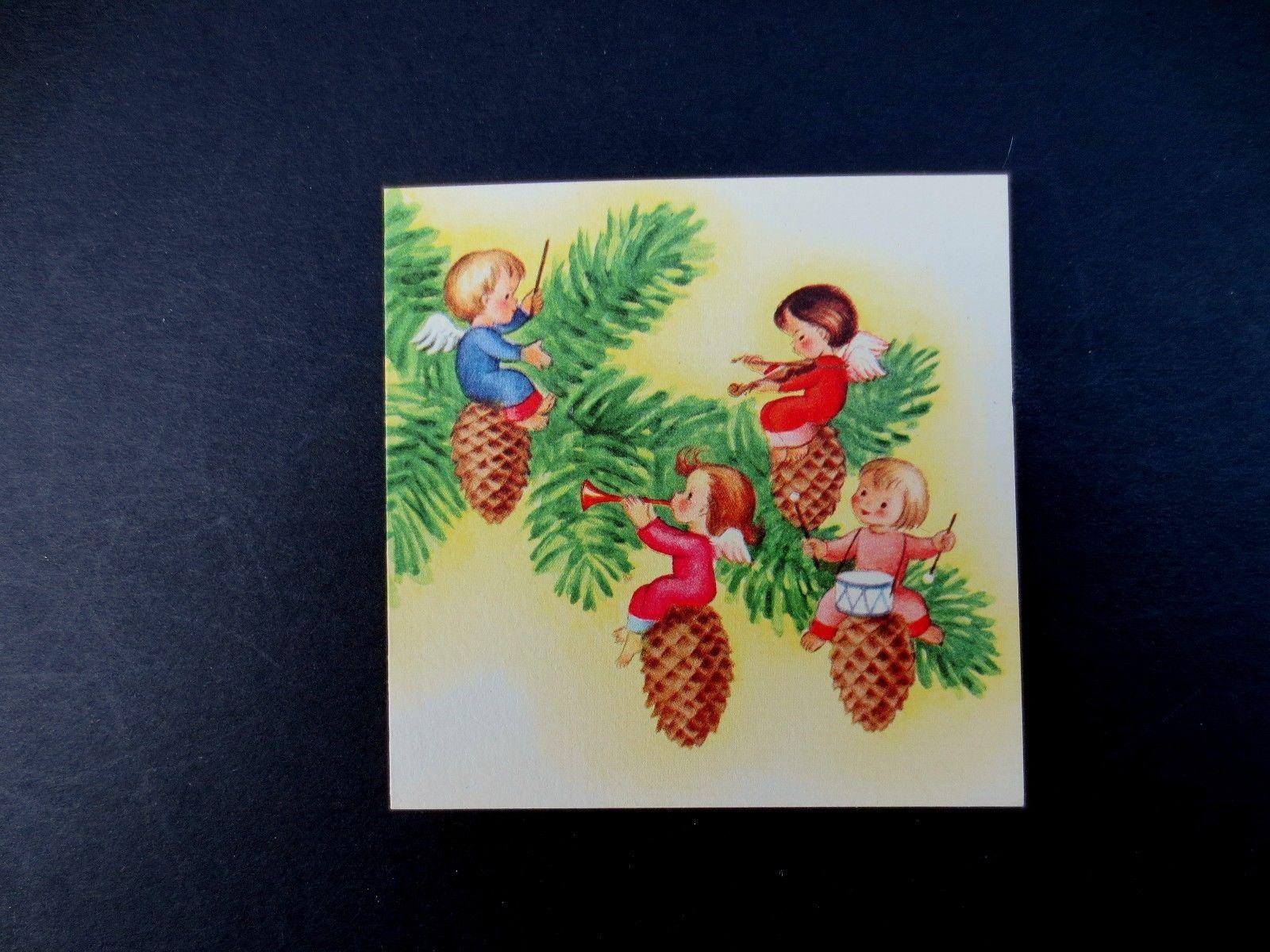 J310 Vintage Unused Brownie Xmas Greeting Card Angels Sitting on Pine Cones | eBay