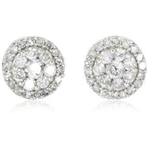 10k White Gold Round Diamond Cluster Earrings (1/2 cttw, IJ Color, I2 ... - See more amazing jewelry at GlamJewelry.org!