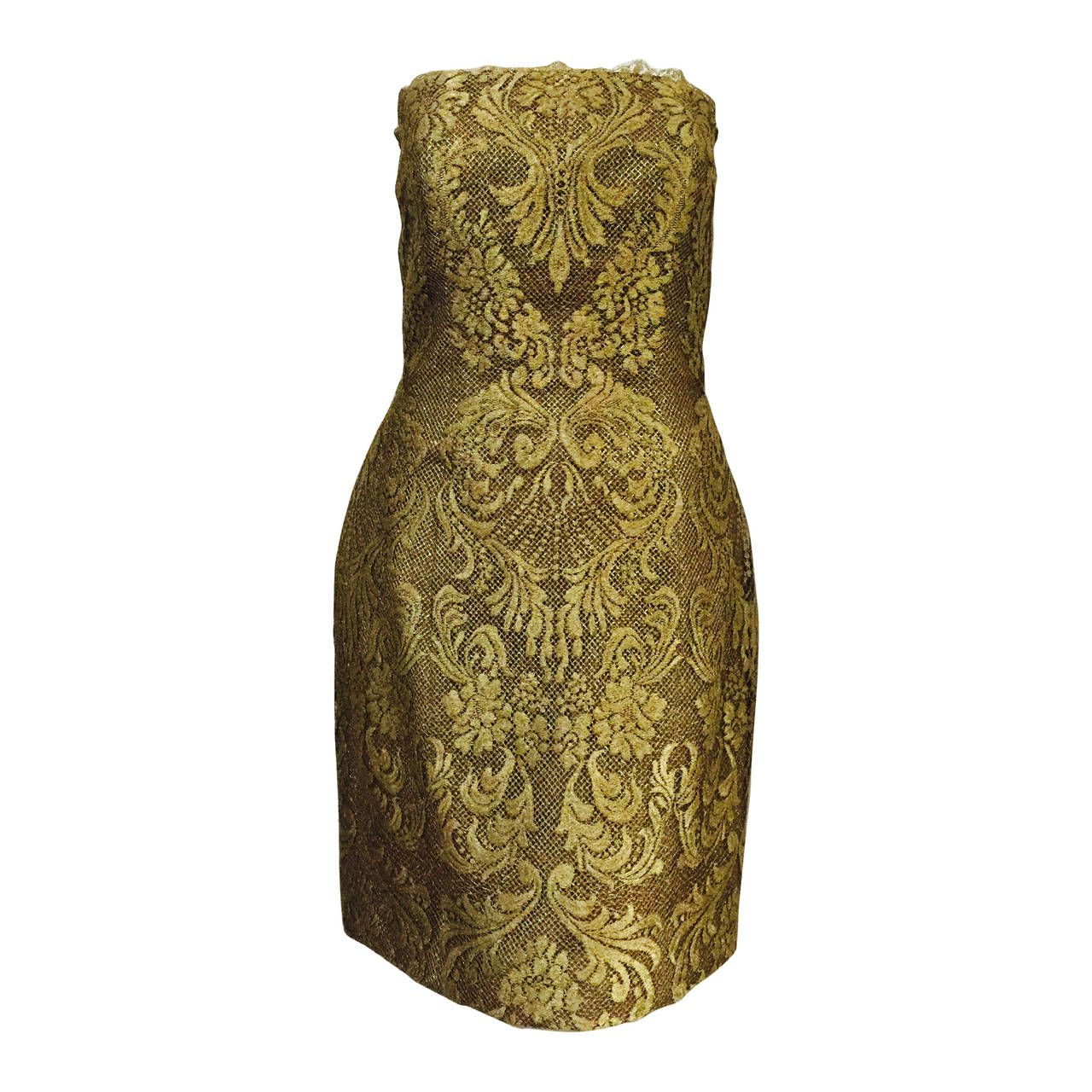 Victor Costa for Saks Fifth Avenue Strapless Old Gold Lace Dress | 1stdibs.com