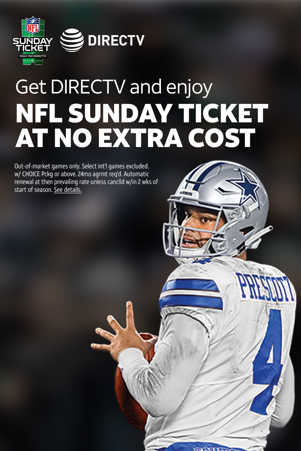 Watch every live game, every Sunday with NFL SUNDAY TICKET
