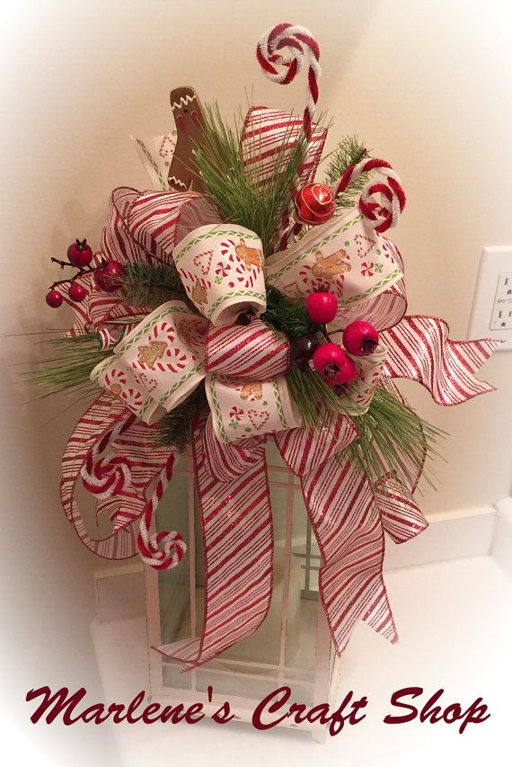 Gingerbread,Peppermint Lantern swag, Peppermint Ribbon Tree topper bow, Christmas Tree Topper, Gingerbread, Peppermint Candy-land tree bow