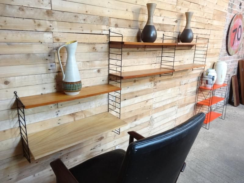Grote String metalen ladders en teakhouten bureau planken opberg