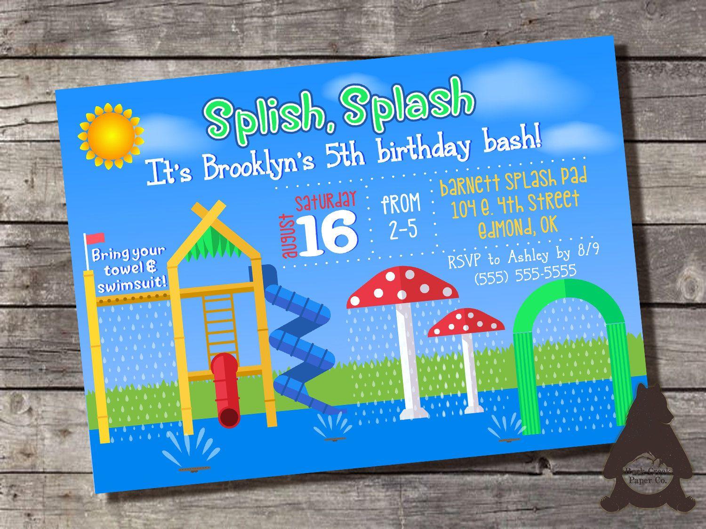 birthday party invitations printable%0A Splash Pad Invitation  Splash Park  Sprinklers  Slides  Sprayground   Aquatic u