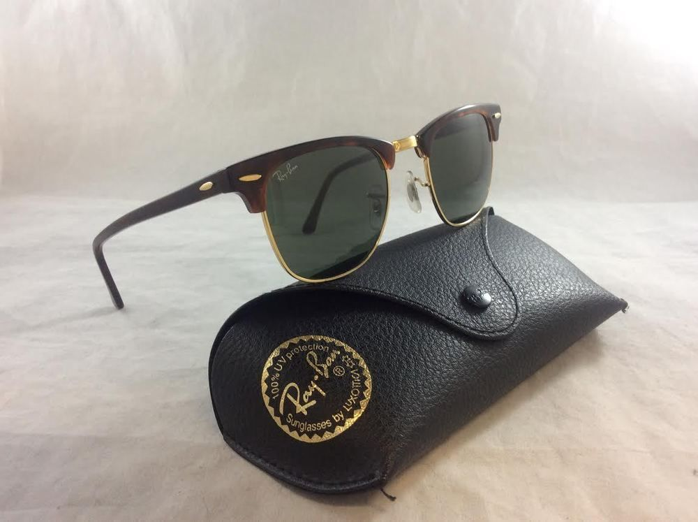 Ray-Ban Clubmaster Classic RB3016 W0366 49-21 Tortoise Sunglasses & Green Lenses. SOLD