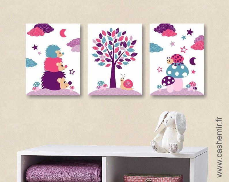 Lot De 3 Illustrations Pour Chambre D Enfant Et Bebe Fille Coccinelle Herisson Rose Violet Turquoise Ref 116 Chambre D Enfant Handmade Handmade Gifts Etsy