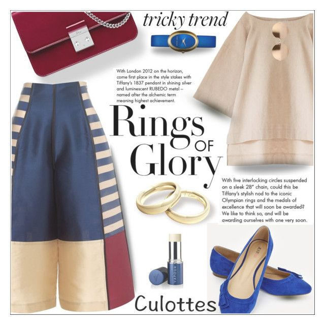 """""""rings of glory! culotte"""" by shoaleh-nia ❤ liked on Polyvore featuring Tiffany & Co., Christian Dior, JustFab, Linda Farrow and Vapour Organic Beauty"""