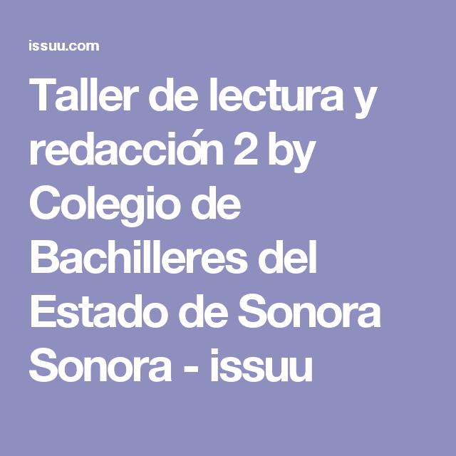 Taller De Lectura Y Redacción 2 Taller De Lectura Lectura