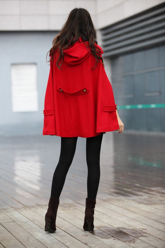SALE 20% Off RED Cape Coat Double Breasted Cape Hooded Wool Winter ...