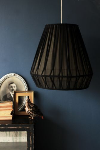Giant Parlour Ceiling Light - Black with Gold Interior ...