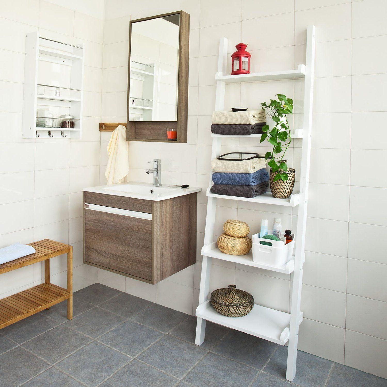 Sobuy white modern tiers wood ladder shelf storage display