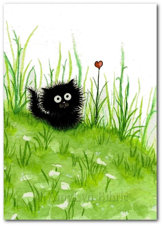 Fuzzy Black Kitty Cat Flower Heart ArT - Art Prints by Bihrle ck249 #kittycats