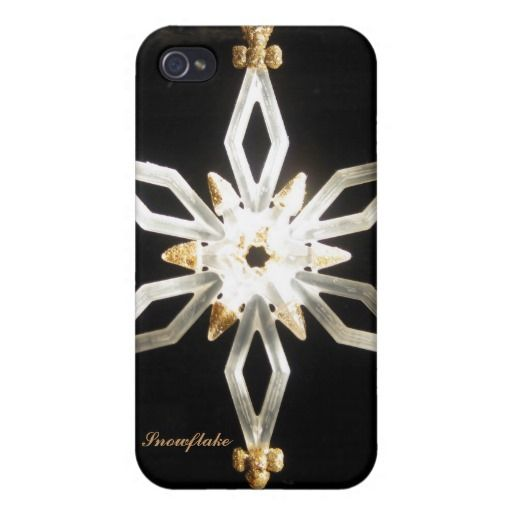 Golden Glittery Snowflake iPhone 4 Cover http://www.zazzle.com/golden_glittery_snowflake_iphone_4_cover-256393146649528950