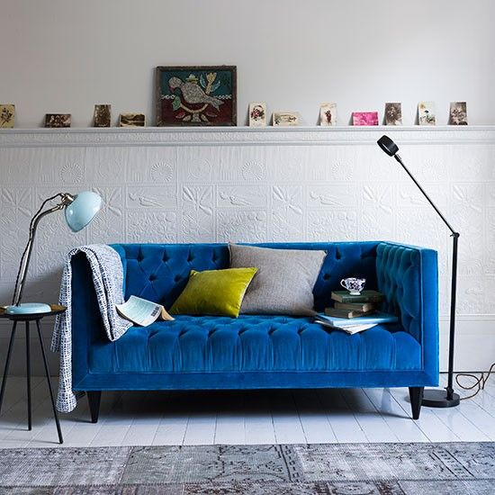 Deep Blue Velvet Sofa How To Decorate With Blue Housetohome Co Uk Blue Sofas Living Room Blue Sofa Inspiration Velvet Sofa Living Room