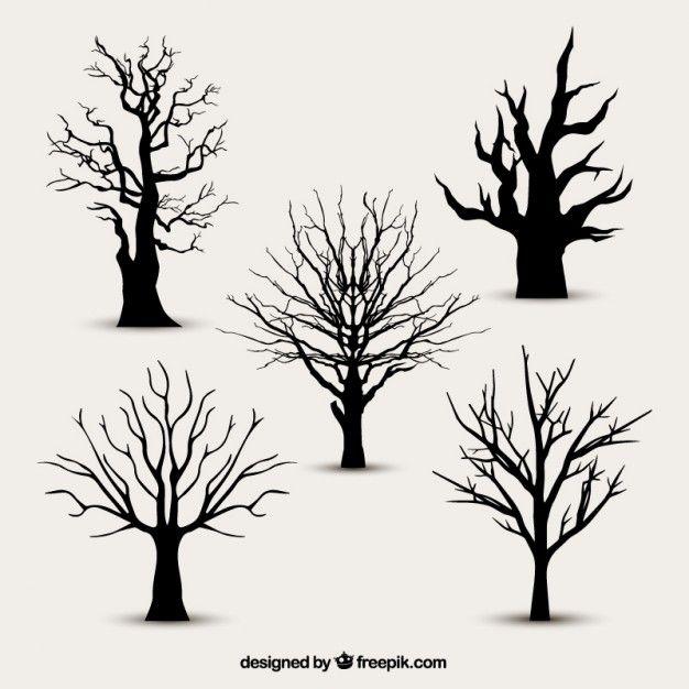 Siluetas del árbol sin hojas | Siluetas | Feuille arbre, Dessin ...