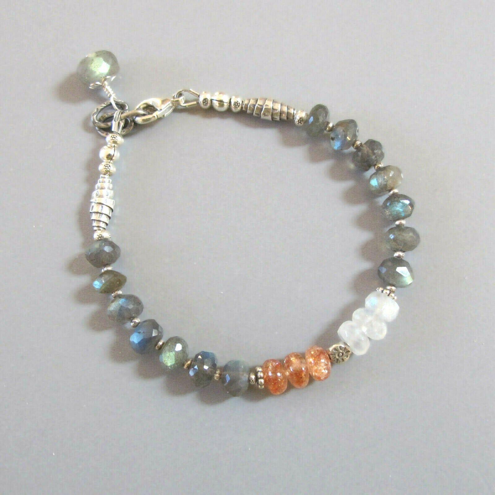 Bali Silver Beads Blue Flash Labradorite Gemstone Jewelry Boho Gray Mystic Labradorite Bracelet